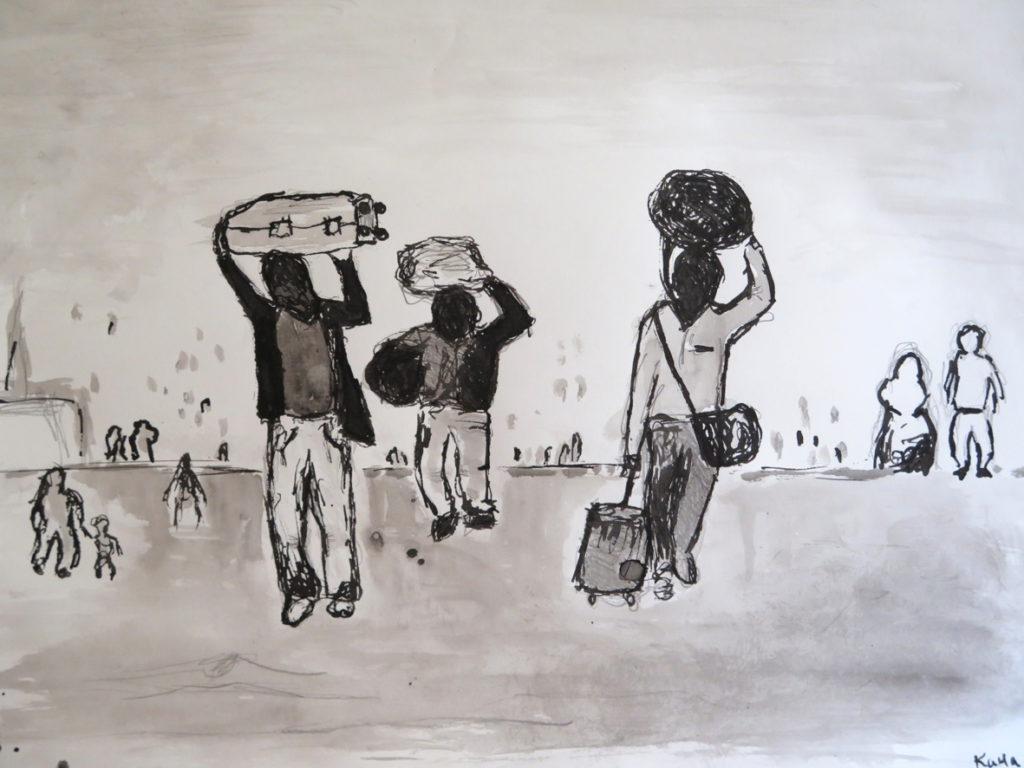 Flüchtlinge als Thema im Kunstunterricht. Blote Vogel Schule Witten, Waldorfabschluss und Abitur in Witten