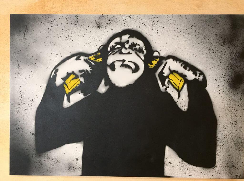 Ein Affe steckt sich zwei Bananen in die Ohren. Kunstunterricht Blote Vogel Schule Witten, Klasse 11, Abitur in Witten Dortmund Herdecke