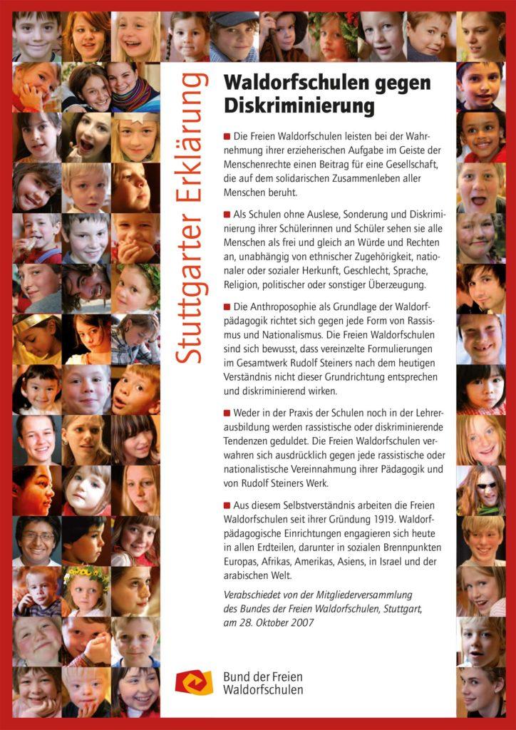 Die Stuttgarter Erklärung der Waldorfschulen ist auch für uns ein Leitbild. Unsere Waldorfpädagogik basiert auf diesen Prinzipien.